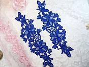 "Embroidered Lace Appliques Blue Floral Venice Lace Mirror Pair 10"" (DH87X)"