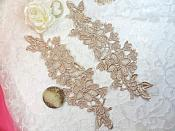 "Embroidered Lace Appliques Champagne Floral Venice Lace Mirror Pair 10"" (DH87X)"