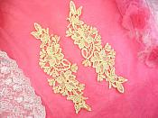 "Embroidered Lace Appliques Gold Floral Venice Lace Mirror Pair 10"" (DH87X)"