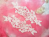 """Embroidered Lace Appliques Ivory Floral Venice Lace Mirror Pair 10"""" (DH87X)"""