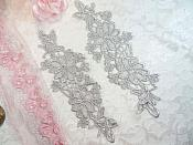 "Embroidered Lace Appliques Silver Floral Venice Lace Mirror Pair 10"" (DH87X)"