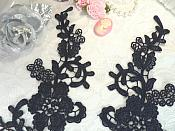 """Embroidered Lace Appliques Navy Blue Floral Venice Lace Mirror Pair 13"""" (DH88X)"""
