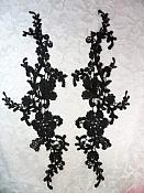 "Embroidered Lace Appliques Black Floral Venice Lace Mirror Pair 13"" (DH88X)"