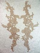 "Embroidered Lace Appliques Champagne Floral Venice Lace Mirror Pair 13"" (DH88X)"