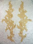 "Embroidered Lace Appliques Gold Floral Venice Lace Mirror Pair 13"" (DH88X)"