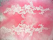 """Embroidered Lace Appliques Ivory Floral Venice Lace Mirror Pair 13"""" (DH88X)"""