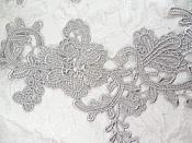 "Embroidered Lace Appliques Silver Floral Venice Lace Mirror Pair 13"" (DH88X)"