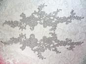 """Embroidered Lace Appliques Silver Floral Venice Lace Mirror Pair 13"""" (DH88X)"""