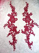 "Embroidered Lace Appliques Wine Floral Venice Lace Mirror Pair 13"" (DH88X)"