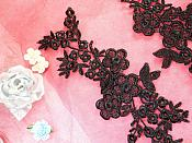 "Lace Appliques Black Floral Vine Embroidered Mirror Pair Costume Motifs 14"" (DH89X)"
