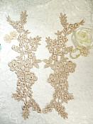 """Lace Appliques Champagne Floral Vine Embroidered Mirror Pair Costume Motifs 14"""" (DH89X)"""