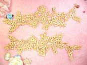 "Lace Appliques Gold Floral Vine Embroidered Mirror Pair Costume Motifs 14"" (DH89X)"