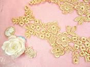 """Lace Appliques Gold Floral Vine Embroidered Mirror Pair Costume Motifs 14"""" (DH89X)"""