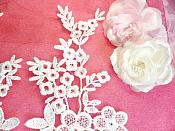 """Lace Appliques Ivory Floral Vine Embroidered Mirror Pair Costume Motifs 14"""" (DH89X)"""