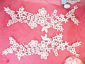 "Lace Appliques Ivory Floral Vine Embroidered Mirror Pair Costume Motifs 14"" (DH89X)"