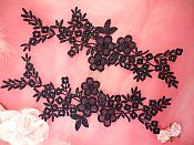 "Lace Appliques Navy Blue Floral Vine Embroidered Mirror Pair Costume Motifs 14"" (DH89X)"