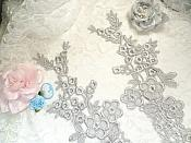 """Lace Appliques Silver Floral Vine Embroidered Mirror Pair Costume Motifs 14"""" (DH89X)"""