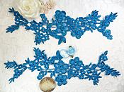 "Lace Appliques Turquoise Floral Vine Embroidered Mirror Pair Costume Motifs 14"" (DH89X)"