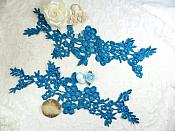 Lace Appliques Turquoise Floral Vine Embroidered Mirror Pair Costume Motifs 14