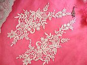 "Embroidered Lace Appliques White Antique Floral Venice Lace Mirror Pair 11"" (DH99X)"