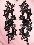 """Embroidered Lace Appliques Black Floral Venice Lace Mirror Pair 10.5"""" (DH90X)"""