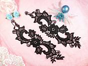 "Embroidered Lace Appliques Black Floral Venice Lace Mirror Pair 10.5"" (DH90X)"