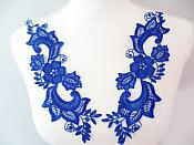 """Embroidered Lace Appliques Blue Floral Venice Lace Mirror Pair 10.5"""" (DH90X)"""