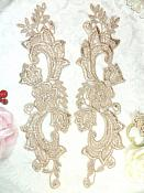 """Embroidered Lace Appliques Champagne Floral Venice Lace Mirror Pair 10.5"""" (DH90X)"""