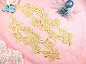 "Embroidered Lace Appliques Gold Floral Venice Lace Mirror Pair 10.5"" (DH90X)"