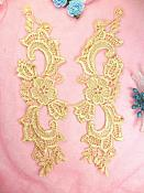 """Embroidered Lace Appliques Gold Floral Venice Lace Mirror Pair 10.5"""" (DH90X)"""