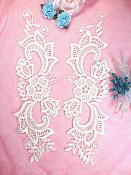 """Embroidered Lace Appliques Ivory Floral Venice Lace Mirror Pair 10.5"""" (DH90X)"""