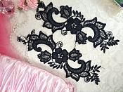 """Embroidered Lace Appliques Navy Blue Floral Venice Lace Mirror Pair 10.5"""" (DH90X)"""