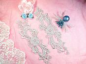 """Embroidered Lace Appliques Silver Floral Venice Lace Mirror Pair 10.5"""" (DH90X)"""