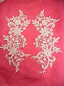 "Embroidered Lace Appliques White Floral Venice Lace Mirror Pair 12.5"" (DH79X)"