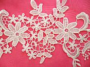 """Embroidered Lace Appliques White Floral Venice Lace Mirror Pair 12.5"""" (DH79X)"""
