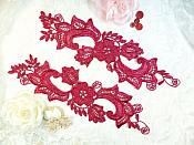 "Embroidered Lace Appliques Wine Floral Venice Lace Mirror Pair 10.5"" (DH90X)"