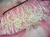 """3D Lace Appliques Ivory Floral Embroidered Mirror Pair Flower Sewing Crafts Motfis 8"""" (DH91X)"""