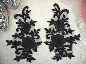 "3D Lace Appliques Black Floral Embroidered Mirror Pair 8"" (DH91X)"