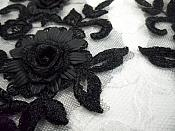 """3D Lace Appliques Black Floral Embroidered Mirror Pair 8"""" (DH91X)"""