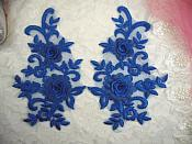 "3D Lace Appliques Blue Floral Embroidered Mirror Pair 8"" (DH91X)"