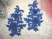 """3D Lace Appliques Blue Floral Embroidered Mirror Pair 8"""" (DH91X)"""