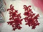 "3D Lace Appliques Burgundy Floral Embroidered Mirror Pair 8"" (DH91X)"