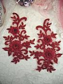 """3D Lace Appliques Burgundy Floral Embroidered Mirror Pair 8"""" (DH91X)"""