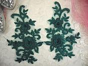 "3D Lace Appliques Emerald Green Floral Embroidered Mirror Pair 8"" (DH91X)"