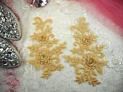 """3D Lace Appliques Gold Floral Embroidered Mirror Pair 8"""" (DH91X)"""
