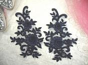 "3D Lace Appliques Navy Floral Embroidered Mirror Pair 8"" (DH91X)"