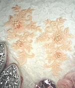 "3D Lace Appliques Peach Floral Embroidered Mirror Pair 8"" (DH91X)"