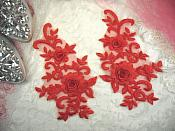 "3D Lace Appliques Red Floral Embroidered Mirror Pair 8"" (DH91X)"