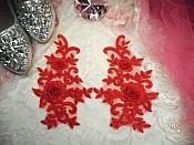"""3D Lace Appliques Red Floral Embroidered Mirror Pair 8"""" (DH91X)"""
