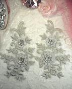 """3D Lace Appliques Silver Floral Embroidered Mirror Pair 8"""" (DH91X)"""